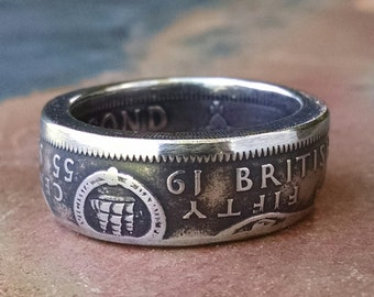 Coin Ring - British Caribbean Territories 50 Cent Coin Ring 1955 - Size: 9