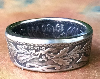 French 25 Centimes Coin Ring - France Coin Ring 1930 - Size: 6