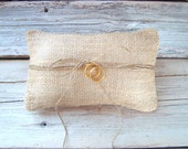Ringbearer pillow in natural burlap and twine . rustic wedding ring pillow