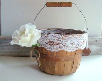 Wooden flower girl pail. personalized basket . stained in oak with white lace. country wedding . rustic wedding
