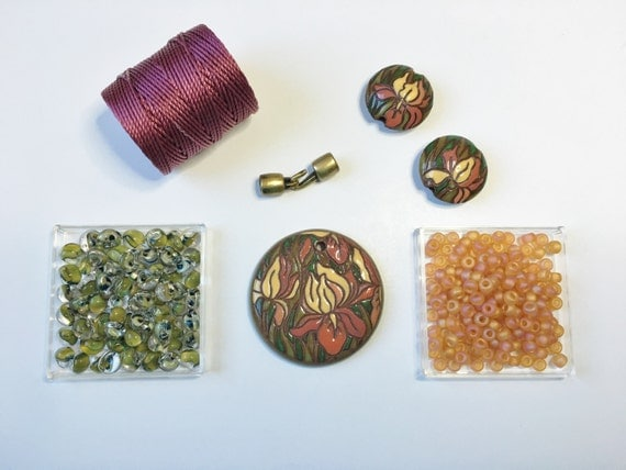 Iris Sunset a Partially Beaded Kumihimo Necklace Kit, Tutorial Sold Separately