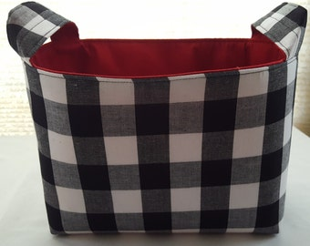 Fabric Organizer Basket Storage Bin Container - Black and White Squares- Choose your Lining Color