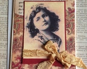 Handmade Friendship Greeting Card Featuring Vintage Postcard of Young Girl
