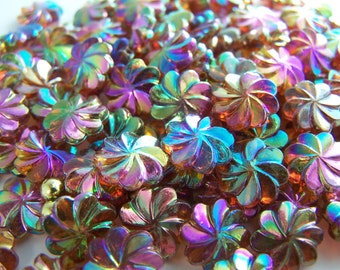 FREE SHIPPING - 21 pcs Iridescent Flower Shape Acrylic Beads (#1320)