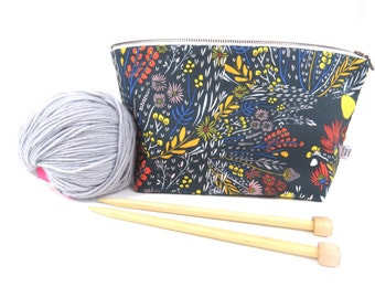 Small Project Bag - Morning Walk - crochet project bag, knitting bag, Knit Project Bag, Knitting Bag, Wedge Bag, Zipper Bag, Craft Bag