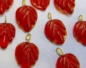 72 pcs Red Leaf Beads Glass Beads with pendant loop Glass Drop B-224 BULK