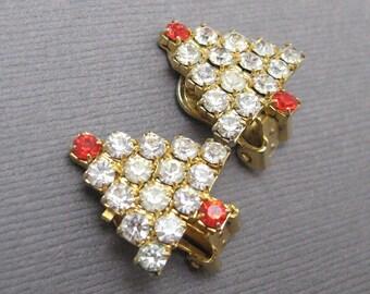 Vintage Rhinestone Earrings Small Christmas Trees Jewelry