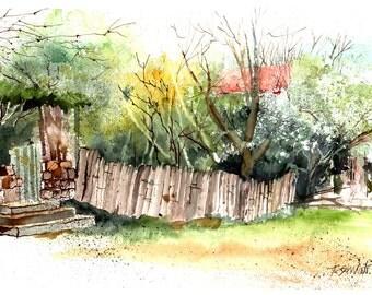 Watercolor - Original watercolour - The almond blossom in Georgia