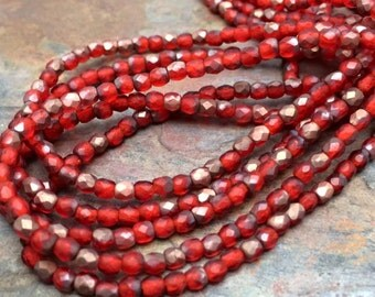 Red Orange Matte AB Czech Glass 3mm, Exclusive Arabesque Collection