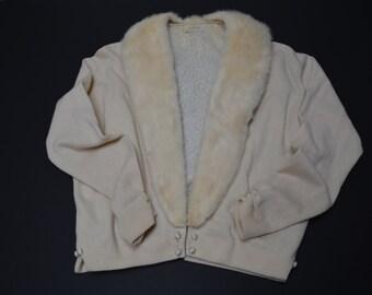50s60s cashmere sweater beige mink collar
