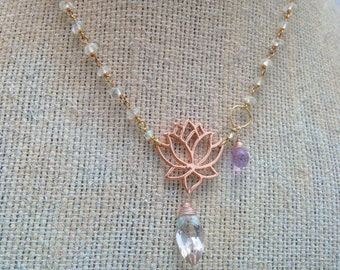 Rose gold lotus necklace with pink quartz marquee