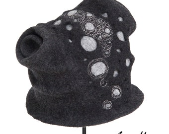 OOAK Women Felt Hat - Dark Gray Sculptural Millinery Headpiece - Wearable Textile Art - Warm Cozy Hat Design - France