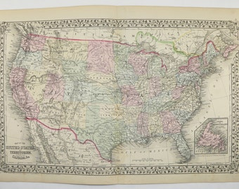 Antique Map Of United States Map Usa Vintage Map 1871 Mitchell Map Unique Gift For