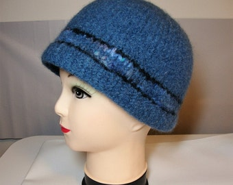 Felted wool hat - blue with tweed band