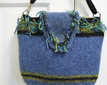 Felted purse in denim blue and lime wool with flap - lined with zipper pockets