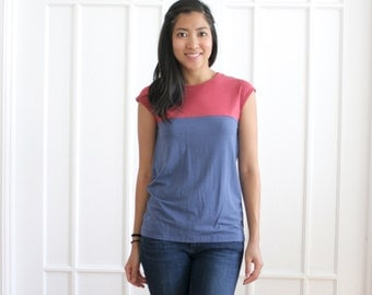 Casual Handmade Tshirt, Gold Button Up Tee, Organic Cotton Bamboo Blouse, Short Sleeve Shirt, Two tone color block tee, Red, Blue - CHLOE