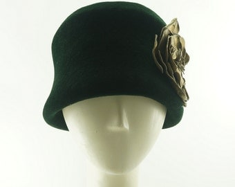 Dark Green BUCKET HAT / Forest Green Fur Felt Hat / Handmade by Marcia Lacher Hats