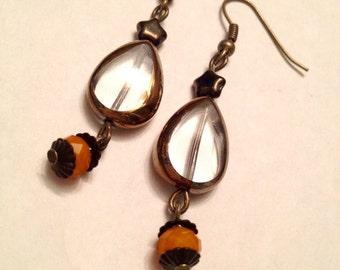 25% off sale - Earrings - Antique Bronze - Clear Lustre Glass Teardrops - Orange - Stars