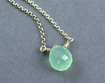 Mint Green Chalcedony Necklace, Aqua Briolette Necklace, Bridesmaids Gift, Sterling Silver, Seafoam Green, Wedding Jewelry