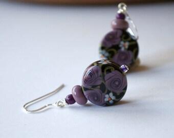 Flower Earrings, Purple Black Earrings, Lampwork Earrings, Glass Bead Earrings, Rose Earrings, Daisy Earrings
