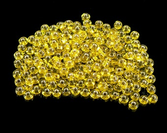 Size 8/0 silver lined yellow seed beads, 20 grams, approximately 600 beads. Sunny, Easter, school color, Spring, Summer, Fall, chick, bright