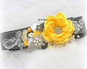 Wedding Sash, Yellow, White, Grey, Pewter, Silver, Vintage Style, Elegant Wedding, Wedding Reception, Lace, Crystals, Vintage Brooches