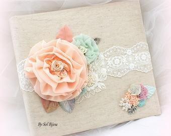 Wedding Photo Album,Ivory,Coral,Peach,Blush,Mint,Bridal Shower,Birthday,Anniversary,Linen Photo Album, Tea Party, Lace Album, Vintage Style
