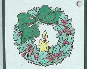 Christmas Wreath Tags-Set of Five