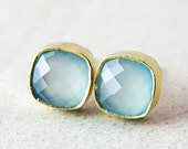 40 OFF SALE Gold Sea Green Chalcedony Stud Earrings - Square Studs - Post Earrings, Mint Green