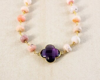 25% OFF Pink Opal Beaded Necklace – Purple Amethyst Clover