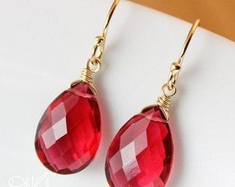 25% OFF Gold Ruby Quartz Earrings - Red Quartz - July Birthstone Earrings