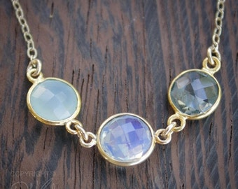 40 OFF SALE Aqua Chalcedony, Opalite, and Crystal Quartz Necklace - 14K Gold Fill