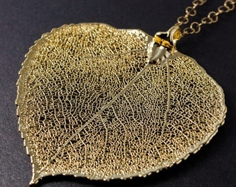 Gold Aspen Leaf Necklace - Large Aspen Leaf - Statement Necklace, Autumn Jewelry