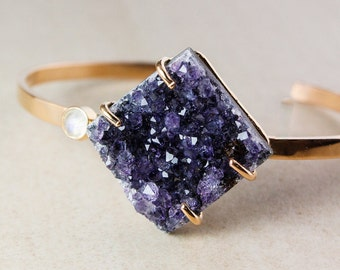 Purple Agate Druzy Bangle – Moonstone – 925 Sterling Silver w/ Rose Gold Plating
