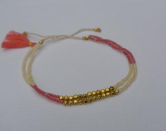 Summer Boho Chic - Beaded Tassel Bracelet/Anklet - Pink/Pearl White/Brass Beads - Friendship Stackable Bracelet ~