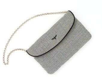 Tweed Purse - Silver Metal Chain Strap - Sparkly - Black - Gray - Small - Preppy - Back to School - Recycled - Eco Friendly - Handbag
