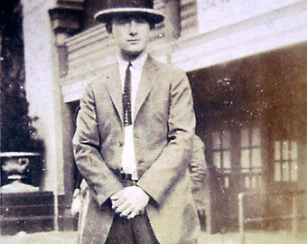 Vintage Photograph Man in Straw Hat and Suit in front of Dance Music Hall 1920s.