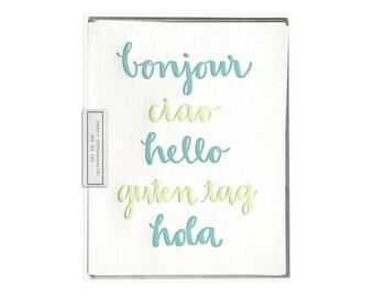Hello Languages letterpress card - set of six