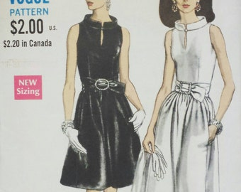 Vintage 1968 Buttoned Standing Collar Cocktail or Evening Dress...Belted and Side Seam Pockets...Vogue 7311 Bust 36