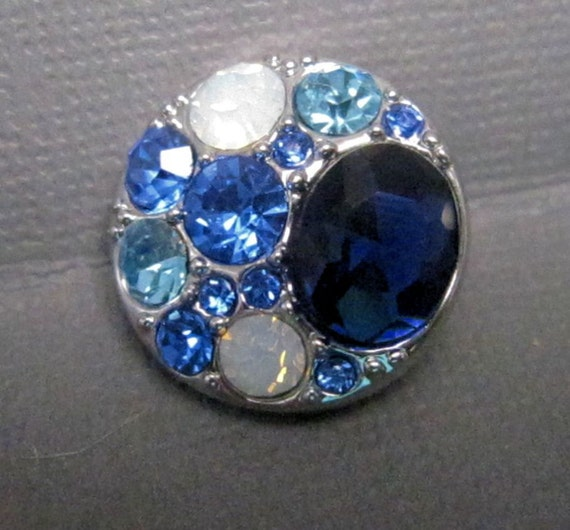 round shades of blue opal rhinestone snap charm chunk charms fits ginger snaps magnolia. Black Bedroom Furniture Sets. Home Design Ideas