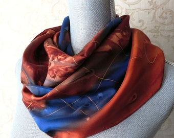 Hand Painted Scarf in Brown, Copper and Blue with Gold