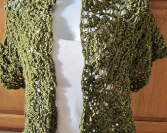 Dark Green Shawl, Crocheted,Olive Green Wrap