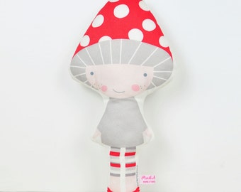 Mushroom cloth doll in red and gray