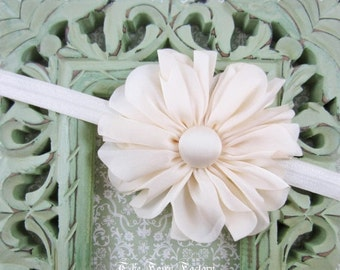 Ivory Flower Headband, Satin Flower Headband or Hair Clip, Flower Girl Headband, Baby Toddler Child Girls Headband