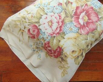 Vintage Floral Bark Cloth Pillow Slip Case Roses