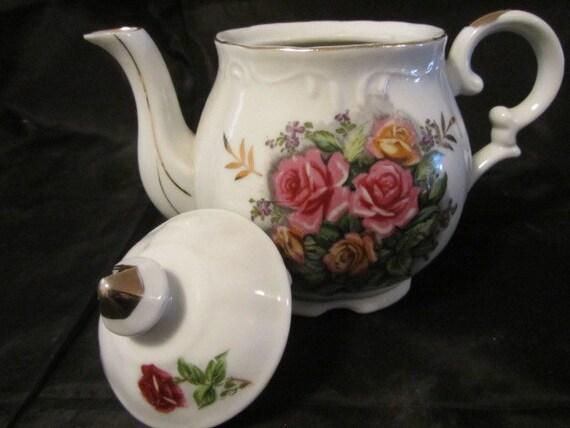 Vintage Halsey Fine China Musical Tea Pot Rose Musical Tea