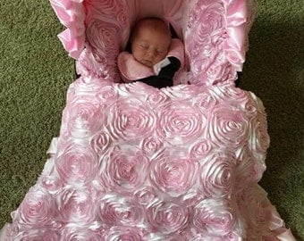 Ritzy Baby Pink Roses Infant Car Seat Cover, Includes Matching Strap Set