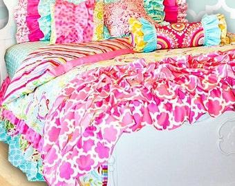 Sujata Pink Big Girl Full-Queen Bedding, Optional Bed Skirt
