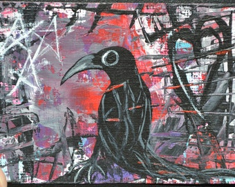 Bird Art Aceo, Crow Painting, Original Acrylic, Purple Sunset