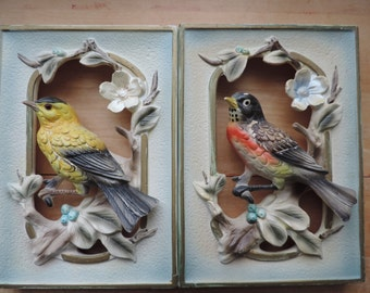 Tilso Japan bird wall hanging hand painted birds 1940's picture pair goldfinch robin red breast